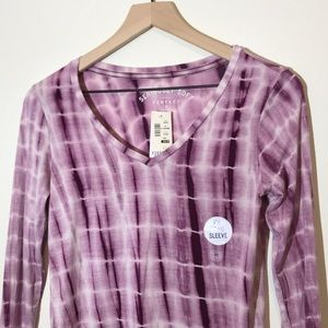 NWT Tie Dye V Neck Long Sleeve Top
